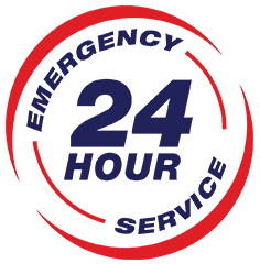 24 hour emergency services logo.